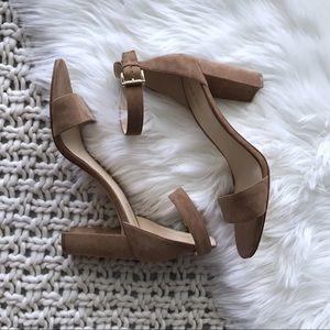 Nine West   Nora Nude Block Heel Sandal Minimalist
